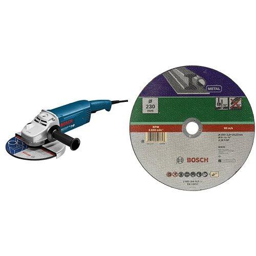 Bosch Professional GWS 22-230 JH Winkelschleifer 230 mm, 2200 Watt mit Anlaufstrombegrenzung + Trennscheibe Metall