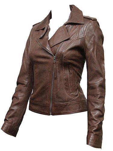 ABSY Size 8 10 12 14 16 18 20 New Womens Slim Fit Leather Biker Jacket Crop Ladies Zip Coat BNWT (2X-Large 16) Brown