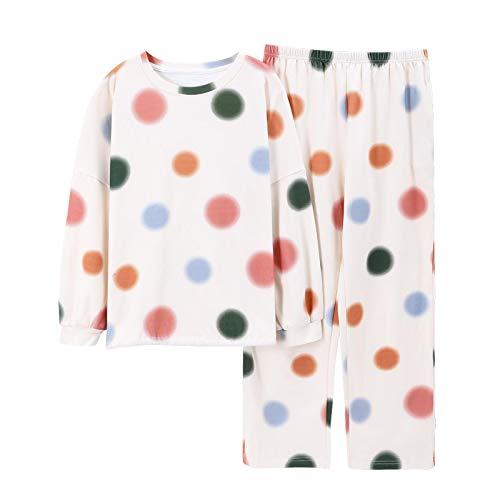 DFDLNL Otoño Invierno Conjuntos de Pijamas de algodón para Mujer Traje Informal Ropa de casa Ropa de Dormir para niñas Camisón Camisón XXL