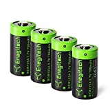 Enegitech CR123A Rechargeable Lithium ion Batteries 3.7V 750mAh 4 Pack for Camera VMC3030 VMK3200 VMS3330 3430 3530 Flashlight Home Security System