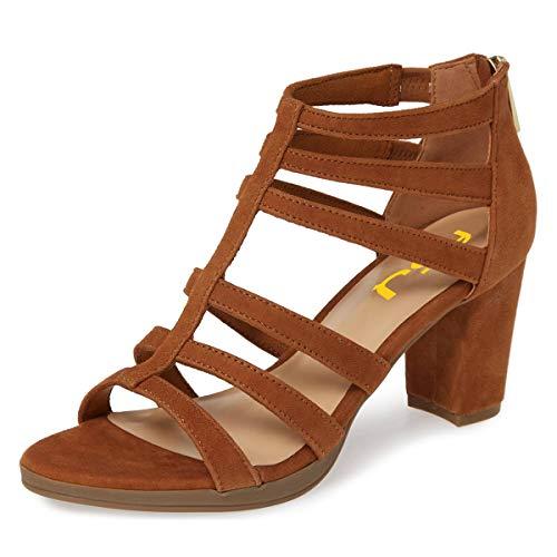 FSJ Women Chunky Mid High Heel Sandals Open Toe T-Strap Pumps Cutout Dress Party Office Shoes Elastic Back Zipper Size 15 Brown