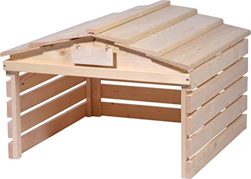 dobar 56194e Mährobotergarage mit abnehmbarem Dach, Unterstand für Automower, 78,5 x 74 x 52,5 cm, Fichte, Natur