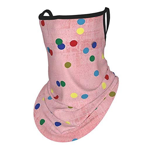 Spots Decor Retro Classic Spots Design With Circles Geometric Decor Pink Background Image Es Multicolorear Hangers Uv Protection Neck Gaiter Scarf, Outdoor Headband For Fishing Cycling Hiking