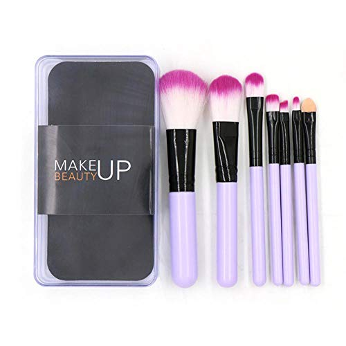 DQC 7 Makeup Brush Sets, Foundation Foundation Eyeshadow Brush with Plastic Boxed Cosmetic Beauty kit,Purple