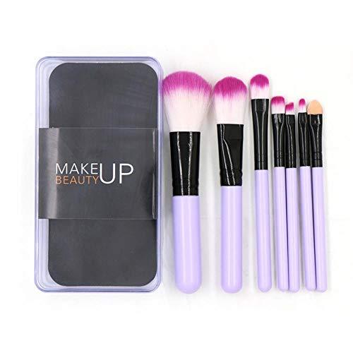 Yener 7pcs Pinceau de Maquillage Ensemble avec boîte Poudre pour Le Visage Fondation Pinceau Fard à paupières Pinceau applicateur Outils de Maquillage cosmétique, 01 Violet 7pcs