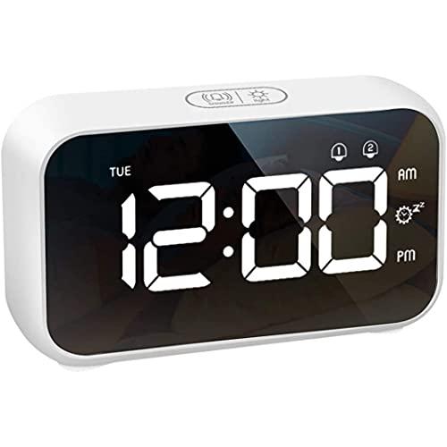 FGART El Despertador Puede Ajustar El Brillo Y El Sonido A Través De La Carga USB La Pantalla LED Blanca del Despertador Digital De La Oficina En El Hogar