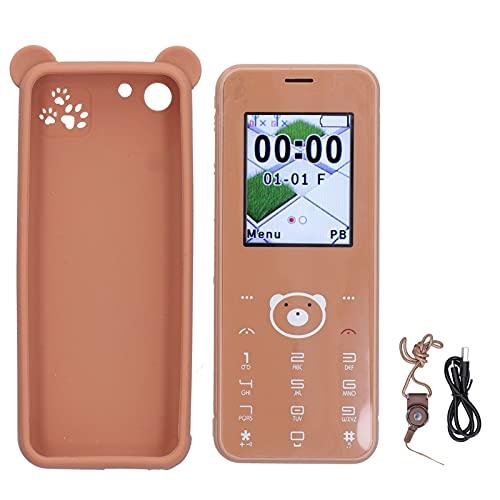 wendeekun Teléfono Inteligente para Estudiantes, 1.77 Pulgadas, portátil, 32M + 32M, Tarjeta Dual, Doble Modo de Espera, teléfono Inteligente, Ligero, Multifuncional, Funciona fácilmente(marrón)