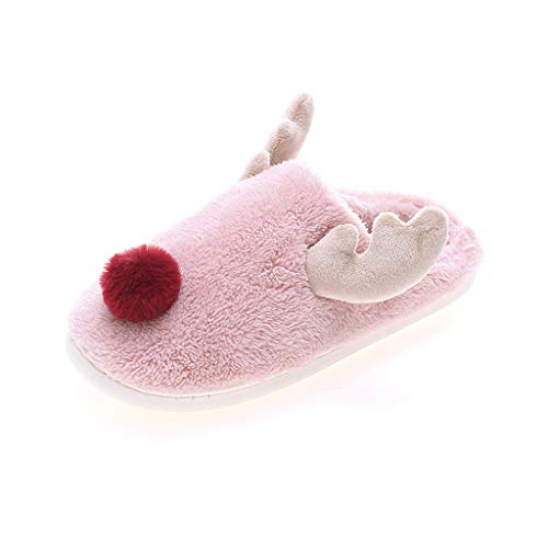 2019 New 3D Reindeer Moose Winter Plush Warm Slipper Adult Non-Slip Non-Slip Home Cotton Shoes (Hot Pink,37-38)