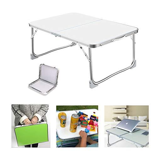 Huini Klappbarer Campingtisch Picknicktisch tragbar Gartentisch Laptop Computertisch Schreibtisch Party Küche Outdoor BBQ Party Tisch 60 x 40 x 26 cm, Aluminiumrahmen, weiß