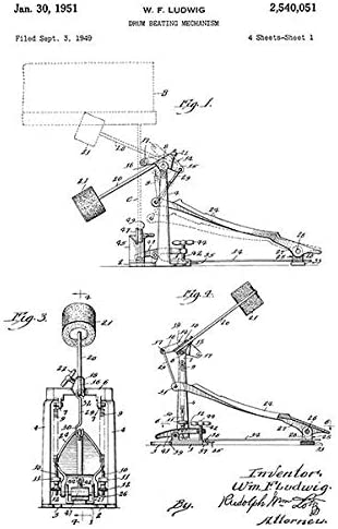 Bass Drum Pedal W 1951 Patent Art Poster Ludwig Drum Beating Mechanism