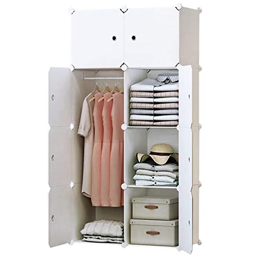 BRIAN & DANY 8-Cube Clothes Closet, Plastic Wardrobe with Doors & 1 Hanger, Modular Storage Organizer, Deeper Cubes for Larger Space
