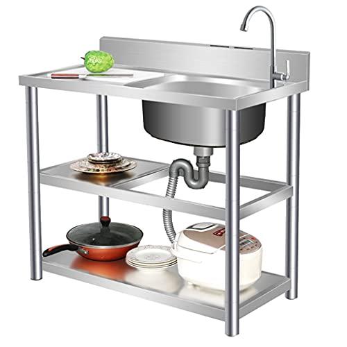 Fregadero de cocina comercial de acero inoxidable / fregadero independiente para interior / exterior, fregadero simple con grifo y desagüe, cocina temporal con estante para mesa de trabajo, impermea
