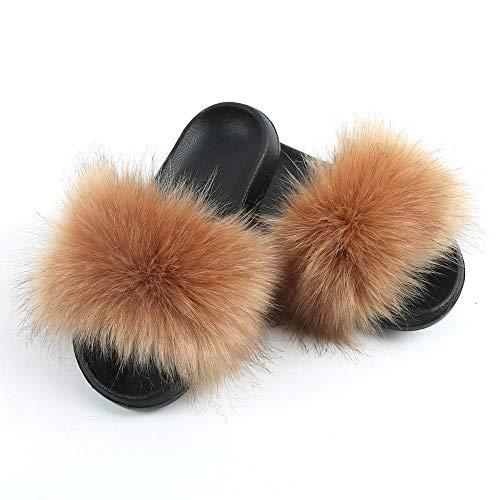 Perferct Mustang Schuhe Damen Stiefeletten,Neue Modelle von Fuchspelz Hausschuhen, europäische und amerikanische Mode-Fell, die Sandalen, Damen tragen nach Hause mit einem Wort-42-43_F.