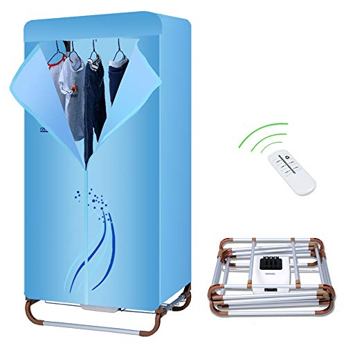 Concise Home Foldable Electric Clothes Dryer 1000W Large Capacity 15kg Double Layer Stainless Steel Remote Control Energy-Efficient Indoor Wet Laundry Warm Air Drying Wardrobe