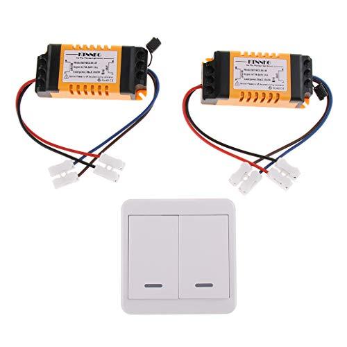 prasku 2CH Premium AC 90-250V Interruptor Remoto Inalámbrico 50 / 60Hz Transmisor Y Receptor