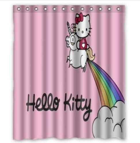 FANG2018 Neuer Hello Kitty Duschvorhang Bad Duschvorhang strapazierfähiges Stoffzubehör kreativ mit 12 Haken 180X180CM