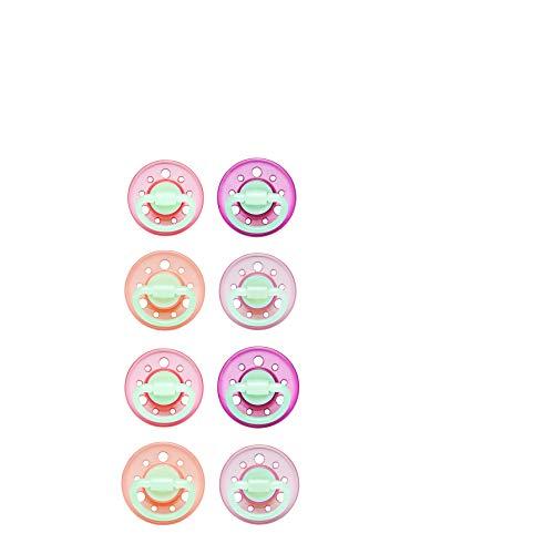 2 x 4 Schnuller Cherry® Night kirschform Größe 2, ab 6 Monate, Latex, Rosa/Pink & Lila/Violett