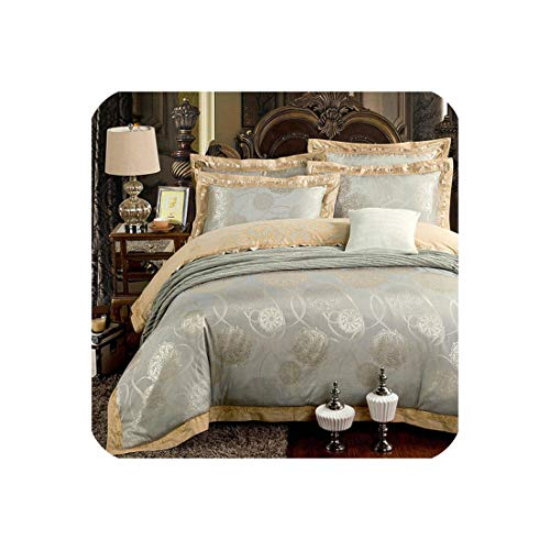 Goods-Store-uk Zilver Goud Zijde Satijn Jacquard dekbedovertrek beddengoed set queen king size Borduurwerk bed set bedlaken/Hoeslaken set