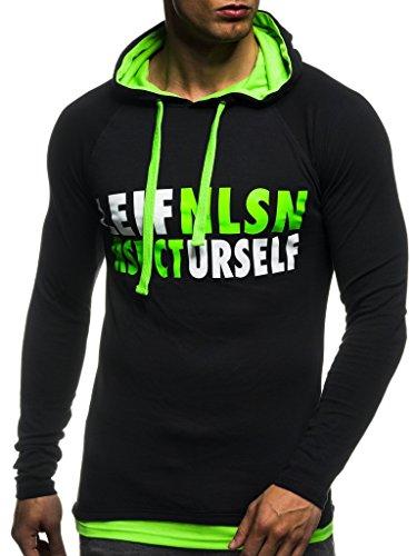 Leif Nelson Gym Herren Fitness Sweatshirt mit Kapuze Hoodie Langarm Trainingsshirt T-Shirt Training LN06278; Größe L, Schwarz-Gruen