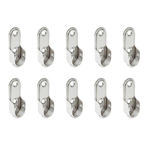 Emuca 7062907 Seitliche Stütze für ovale Kleiderschrank Stange, Stahl, 10 Stück, Vernickelt