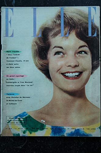 ELLE 659 11 août 1958 Romy SCHNEIDER LOLLOBRIGIDA Yves MONTAND Collioure - 76 pages FASHION VINTAGE