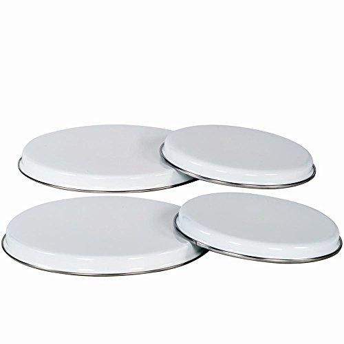 Karl Krüger Emaille Kochplatten-Abdeckungen 4er-Set weiß Stahl