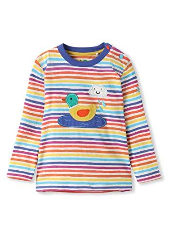 Algodn orgnico - Beb Nia Nios pequeos - Camiseta de Manga Larga - Niita Niito (0-4 Aos) (12M (6-12 Meses), Pato Rayas Arcoiris)