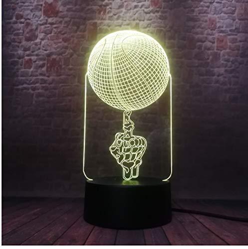 Lámpara de ilusión óptica Increíble Aficionados a los deportes en 3D Favor de mano Top Baloncesto Voleibol Tiro Fútbol 7 Color Luz nocturna LED