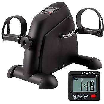 GOREDI Pedal Exerciser Stationary Under Desk Mini Exercise Bike - Peddler Exerciser with LCD Display Foot Pedal Exerciser for Seniors,Arm/Leg Exercise  Black