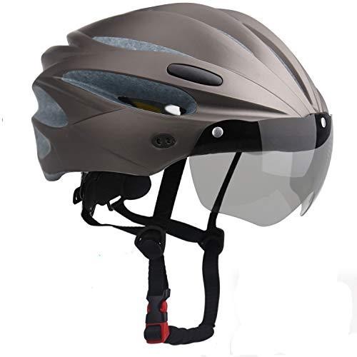 KINGLEAD Fahrradhelm mit Sicherheitslicht und Visier, CE-zertifiziertem, unisexgeschütztem Fahrradhelm für das Radfahren im Freien. Sicherheitssuperleichter, Verstellbarer Fahrradhelm (reines Titan)