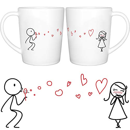 BOLDLOFT From My Heart to Yours His and Hers Matching Couple Coffee Mugs Set -Couples Gifts Valentines Day Anniversary Wedding Engagement Gifts for Wife Girlfriend Gifts Romantic Gifts for Her