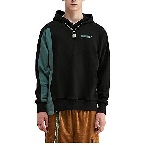TLLW Pull Pastel pour femme Sweat-shirts pour homme, Astronaute Imprimé Espace Personnalité Irrégulière Ourlet Doux noyau léger - Noir - L