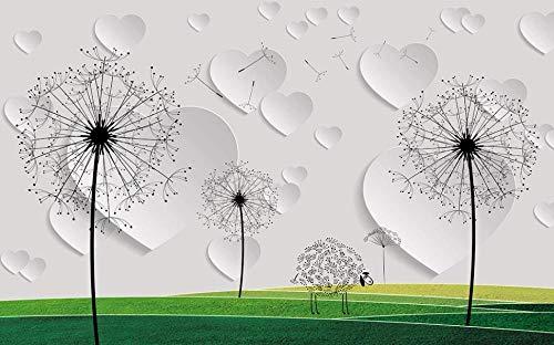 Fotobehang 3D paardenbloem wandafbeeldingen vliesbehang wandbehang wandschilderij Wall Mural Wallpaper modern design wanddecoratie voor slaapkamer woonkamer kinderkamer 200 x 140 cm.
