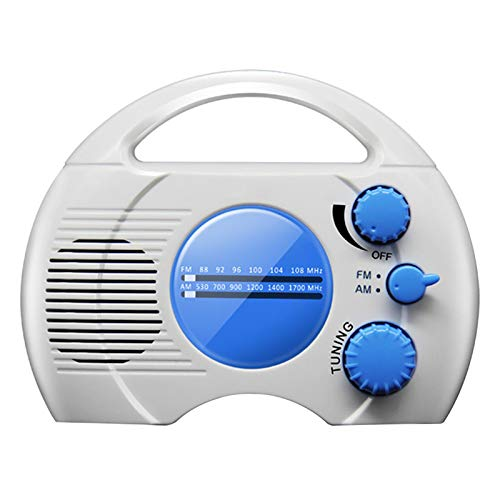 MOVKZACV Duschradio, tragbares Mini-Duschradio mit Griff oben, wasserdicht, mit eingebautem Lautsprecher, Multiband-Abdeckung, perfekt für Pool, Strand, Zuhause, Party, Reisen im Freien