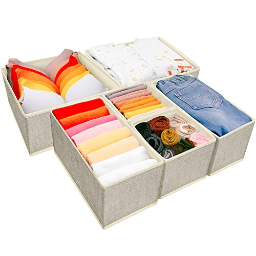 Underwear Drawer Organizer 6 Set Foldable Underwear Drawer Organizer and Closet DividersStorage Box for Clothes Socks Underwear 6 Bins Beige