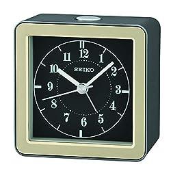 SEIKO Gatsby Bedside Alarm Clock, Metallic Dark Silver