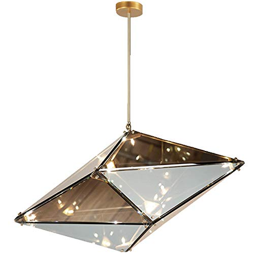 Coococ Kitchen Island Mini Loft Pendant Light Nordic Modern Diamond Shape Chandelier 16 Light Smoky Gray Glass Ceiling Light Fixtures For Bar Stairs Hallway-Gold And Soot Glass 60 * 30cm