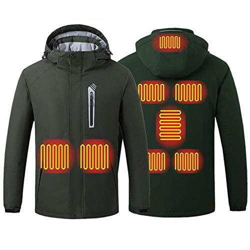 Beheizbare Jacke Herren, Beheizbare Winterjacke, Beheizte Jacke mit 5V Akku für Herren und Damen, 8 Heizzonen Waschbare warme Jacke, Warme Jacke mit USB-Ladeeinsatz, für Outdoor-Aktivitäten,Grün,XXL