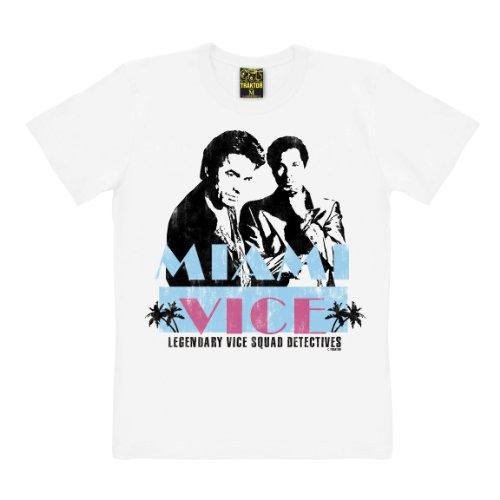 TRAKTOR T-Shirt Miami Vice - Maglia Cult del Film - Maglietta Girocollo - Bianco - t-Shirt Originale della Marca, Taglia M