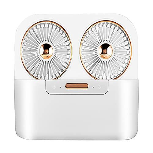 ZUIZUI Ventilador Portátil,Ventilador Refrigeración por Aerosol Inalámbrico Mini Desktop,Carga USB,Humidificación Hidratante Doble Chorro Hidromasaje Ventilador Bajo Ruido