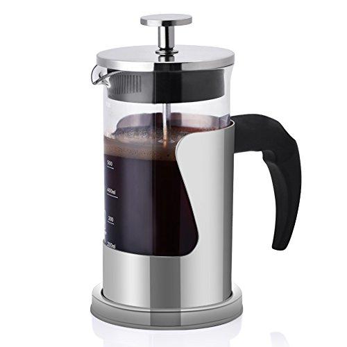 Kaffeebereiter, L-beans Edelstahl Hitzebeständige French Press Kaffeemaschine mit Permanent Edelstahlfilter, 350 ml