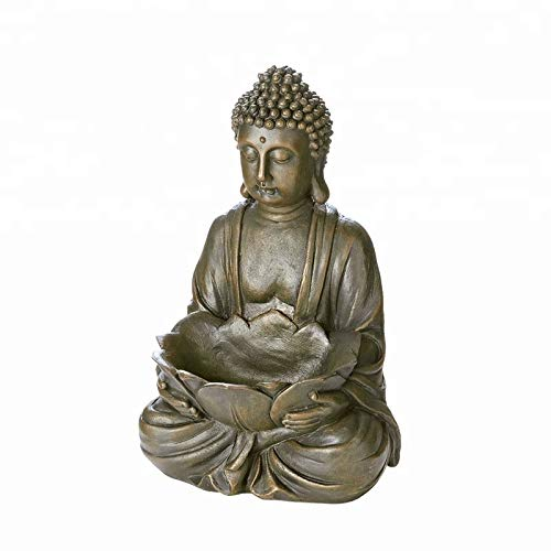 JJ Gifts Buddha Statue with Lotus Leaf Bowl. Candle Holder, Organizer or Flower Pot
