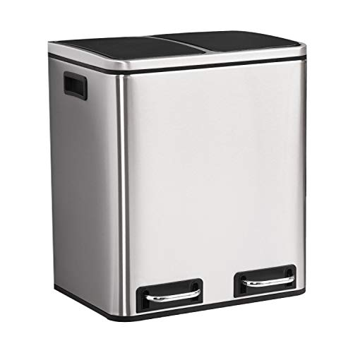 ALEAVIC 16 Gallon / 2 x 30 L Stainless Steel Step Trash and Recycling Bin Dual Trash Can Garbage and...