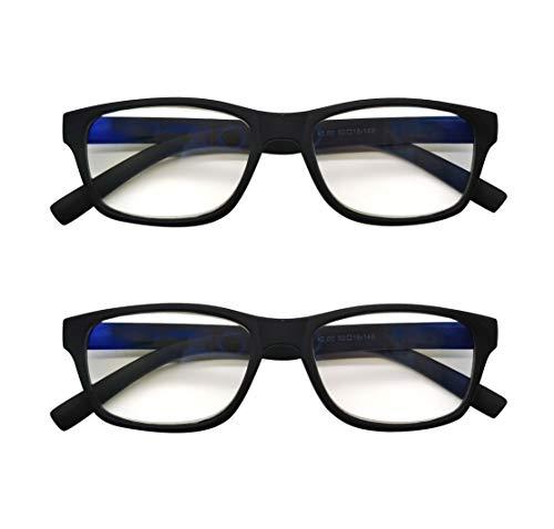PANTONA – Pack2 Gafas de Lectura Anti-Luz Azul,Gafas de Presbicia Antifatiga para Hombre y Mujer ,Lentes Antirreflejantes,Gafas Vista Cansada bloqueo Luz Azul.Negro+2.00