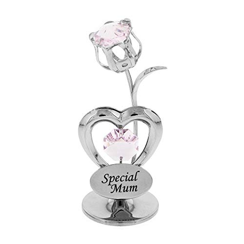 Crystocraft Special Mum Celebration Heart and Tulip Ornament with Crystals From Swarovski
