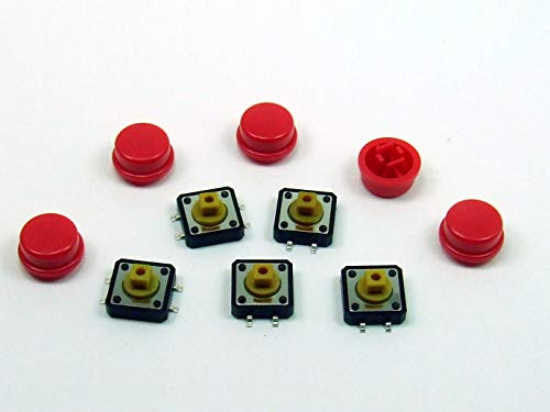 POPESQ® - 5 Stk. x Taster (12mm x 12mm) mit Kappe 7.3mm 4 polig SMD Rot R& / 5 pcs. x Momentary switch (12mm x 12mm) with Cap 7.3mm 4 way SMD Red Ro& #A2116
