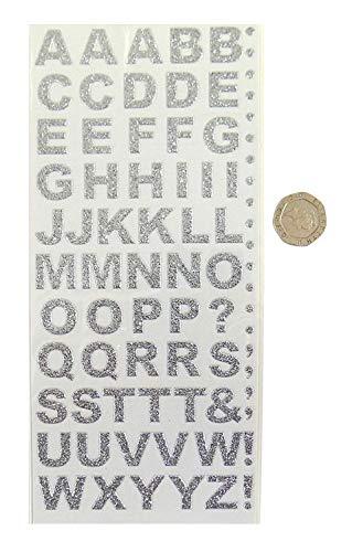 Silber Dicke Glitzer Glitzer Aufkleben Buchstaben Packung 55 Buchstaben