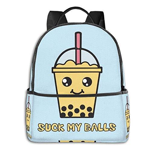 Suck My BallsFunny Bubble Tea (Mango) Bolsa de escuela para estudiantes Ciclismo Ocio Viajes Camping Mochila al aire libre