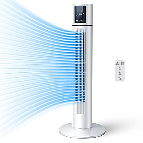 YISSVIC Ventilador de Torre Oscilante 70° Silencioso con Mando a Distancia Altura de 87cm 3 Velocidades 3 Modos Temporizador 8H 40W
