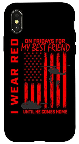 iPhone X/XS Red Friday Best Friend Military Remember Deployed USA Flag Case